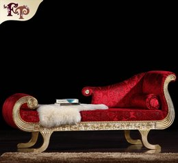 Wholesale Rococo styl Chaise Lounge French classic furniture European classic antique bedroom furniture luxury solid wood chaise loungue