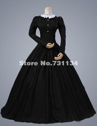 2016 Elegant Black Classical Long Sleeve Vintage Renaissance Gothic Victorian Dress Civil War Victorian Ball Gowns