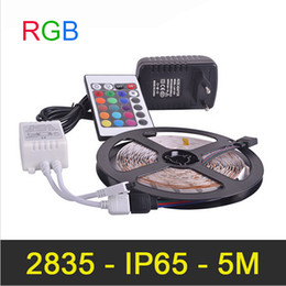 Waterproof IP65 RGB LED Strip 60LEDs m 5M lot SMD2835 2A DC12V Power Supply IR Remote Controller Christmas RGB Strip Lamps