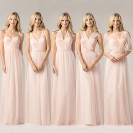 2019 New Blush Pink Convertible Bridesmaid Dresses Cheap Ruched Long Simple Cheap Backless Long Maid of the Honor Dresses