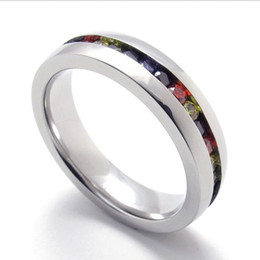 074955-Wholesale The trend of male   female creative personality simple and colorful stainless steel ring CZ Ring US Size: 5-11