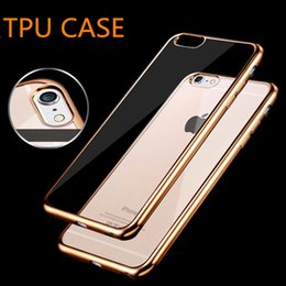 Wholesale Soft Tpu Silicone Back Case - Ultra Thin Metal Electroplating Technology Soft TPU Gel Silicone Case Back Cover for iPhone 7+ 6S 6Plus 5S SE Samsung S7 S6 Edge Plus Note7
