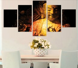 5 Piece Unframed HD Printed gold buddha Print room decor print poster picture canvas Free shipping ny-4913