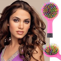 2016 Hot Selling Rainbow Volume Anti-static Magic Detangler Hair Curl Straight Massage Comb Brush Styling Tools With Mirror