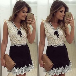 Wholesale 2016 brazil New Pattern women dress Sleeveless Lace white patchwork v neck with bow A line best dress