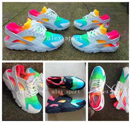 Wholesale 2016 Fashion Air Huarache Ultra Running Shoes Huaraches Rainbow Ultra Breathe Shoes Men Women Huraches Multicolor Sneakers Size