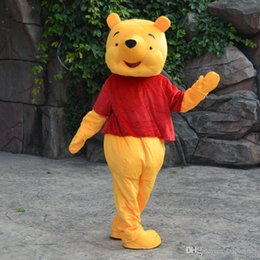 Wholesale New Bright Yellow Bear Mascot Costume The New Adventures of Winnie the Pooh Baby Delivery Adult Size Fancy Dress Party
