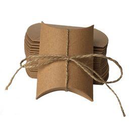 Wholesale 50pcs Vintage Kraft Pillow Candy Box with Burlap Ribbon Baby Shower Favors Rustic Wedding Decor