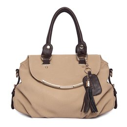Wholesale Tassel Bag Women Handbags PU Leather Ladies Bag Black and Khaki Large Shoulder Bag for Women Tote Bags Vrouwen Tassen