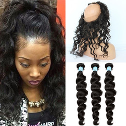 Wholesale Brazilian Elastic Band Lace Frontal Closure With Bundles Cheap A Grade Lace Band Frontal Cloure With Loose Wave Human Hair Weaves