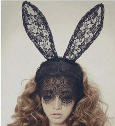 Girl Women Lace Rabbit Ear Headbands Party Veil Photography Headband Halloween Festival Hair Accessories 3 Colors