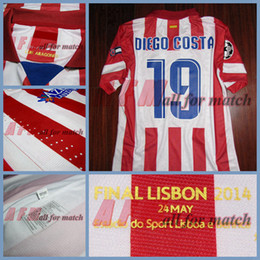 Wholesale UCL Final Lisboa A M Match Worn Player Issue Shirt Jersey Short sleeves Diego Costa David Villa Football Rugby Custom Patches Sponsor