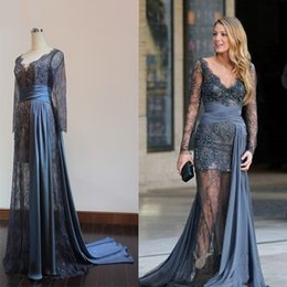 Real Picture Robes de soirée à manches longues en gris Gossip Girl Blake Lively V-Neck Sheer Lace Beaded Celebrity Red Carpet 2016 Customized Gowns à partir de fabricateur