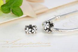 925 Sterling Silver Zircon Flowers Shape European Charms Bead Fit Pandora Snake Chain Bracelets Bangles DIY Jewelry Beads