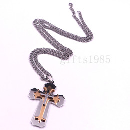 Fashion Unisex's Men Stainless Steel Silver Gold Cross Pendant Necklace Chain