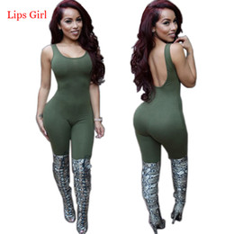 Wholesale-Sexy Club Rompers Womens Jumpsuit Bodysuit New Arrivals 2016 Summer Army Green Catsuit Woman Long Elegant Bodycon Jumpsuits