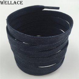 Wellace Navy wax shoe laces colored flat mens dress cotton shoelaces thin waxed string for sneaker replacement shoestrings 80cm