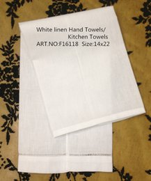 Wholesale Home Textiles American Style white Linen Hemstitched Edges GuestTowel quot X22 quot Beautiful Decoration makes any guest feel welcome