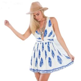 Floral Cotton Summer Dresses Casual New Style Deep V Neck Night Club Dress Woman Brand Design Mini Women Beach Dresses