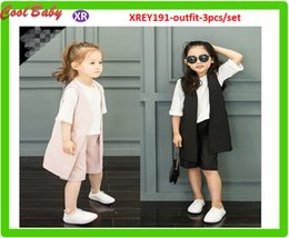 Wholesale New Summer Kids Clothing Set Children Soft Fashion Outfit T Shirt Tops Vest Wide Pant Girl Format Set Pure Color For years Old Girls