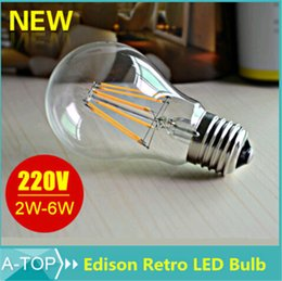 Wholesale E27 Dimmable Edison Led Filament Bulb W W W AC V V V Antique Retro Vintage Led Bulb Incandescent Light