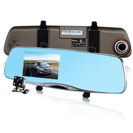 Cámaras de lentes de porcelana en venta-4.5inch coche DVR grado superior Novatek 96655 doble lente de la imagen inversa Cámara Full HD 1080p espejo retrovisor DVR Night Vision Blackbox