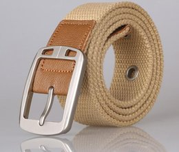 Silver buckle canvas belt for men and women Leisure needle belt buckle cloth woven belt