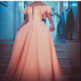 2016 Hot Sale Elegant Coral Pink Prom Dresses Off the Shoulder Floor Length Ruffles Dubai Muslim Style Prom Dresses
