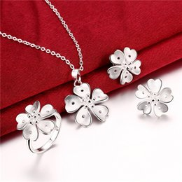 Factory direct sale 925 sterling silver Five flower gift set jewelry sets DFMSS798 wedding high grade 925 silver necklace earring ring