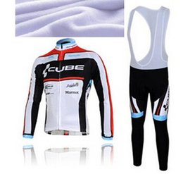Wholesale Online Cycling Jerseys cube Cycle Clothings Full Sleeve Thermal Fleece Cycling Jersey Camping Sportswear Bib Pants Ropa Ciclismo