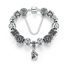 Vintage Beaded Charm Bracelets with Butterfly Charms & Linked Heart Dangles Silver DIY Snake Chain Bangle Bracelets BL239