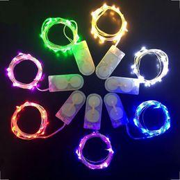 Promotion des vacances mini-lumières Vente en gros-batterie Powered 2M 20 conduit couleur argent fil de cuivre mini fée chaîne lumière lampe pour Noël Holiday Wedding Party 8 couleurs