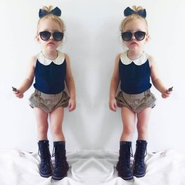 Wholesale INS summer children outfits baby girls lace doll collar navy vest tops stripe shorts sets kids cotton clothing