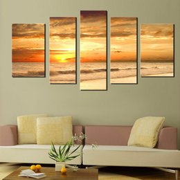 Wholesale LK5113 Panel Sea beach Sunrise Red Picture Print On Canvas Pictures For Home Decor Decoration Gift piece Unframed