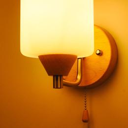 Solid wood wall lamp 220v glass lampshade indoor lighting standard E27 screw oak light factory wholesale decorative lighting