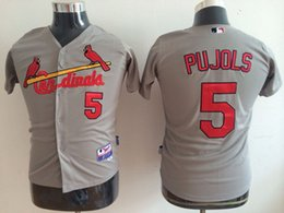 Wholesale Cardinals Cool Base Kids Jerseys Albert Pujols Gray Baseball Jersey Stitched Name And Number Mixed Orders