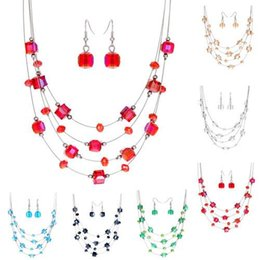 Wholesale 6 Colors Fashion Jewelry Fresh Stone Square Crystal Earrings Statement Necklace Jewelry Set Wedding Party New Women Jewelry