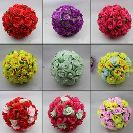 """12 """" Elegant Artificial Silk Roses Flowers Kissing Ball 10 Colors For Wedding Christmas Ornaments Party Decoration Supplies"""