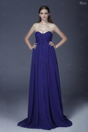 Wholesale A line Blue Sweetheart Crossover Ruched Bust Empire Sweep Train Chiffon Evening Dress Prom Dress