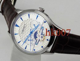 1589 Corgeut 44mm Silver Case White Dial Blue hands Date Day Men's Stainless Steel Automatic Watch