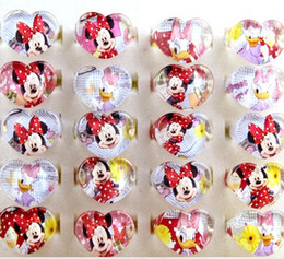 Wholesale Mickey Mouse Ring Plastic Ring Kids Cartoon Heart Shape Rings Children Birthday present Gift Jewelry Finger Rings For Kinds