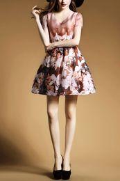The 2016 Summer Fashion Women dress V-Neck Short Sleeve Women Chiffon Print Dress size XXL Free shipping.