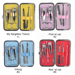 Wholesale 6pcs set New Nail Tool Kits Cartoon Case Nail Clippers Mini Manicure Set Nails Tools Cuticle Grooming Kit High Quality
