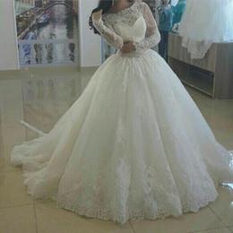 Wholesale In the new antique wedding dress long sleeve scoop neck applique lace plus size wedding dress custom wedding dress