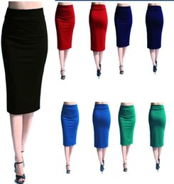 Wholesale 2016 Fashion Long Women Stretched Pencil Skirts High Waist Slim Elastic Bandage Work OL Skirts Red Wrap Casual Skirts