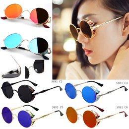 Wholesale 2016 Vintage Designer Sunglasses With Punk Steam Antique Tattoo Pattern Mirror Sun Glasses Round Shape Sunglasses For Women