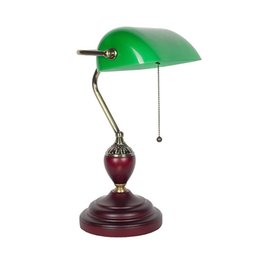 Wholesale Vintage Bank Table Lamp the Republican Period Antique Desk Lamp Old Shanghai Style Glass Wood Table Light