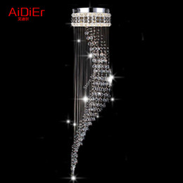 Wholesale Southeast Asia Luxury penthouse double helix staircase chandelier luxury villa living room lamp LED crystal lighting
