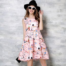 Wholesale 2016 news style summer pink color printing flora dresses street style big size women s clothing blue color printing dress