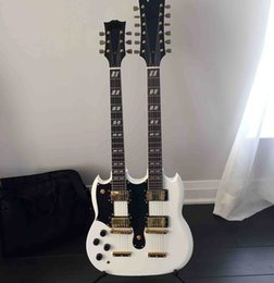 free shipping left-handed white Double Neck Electric guitars black guard plate Rosewood Fingerboard Can send pictures customization